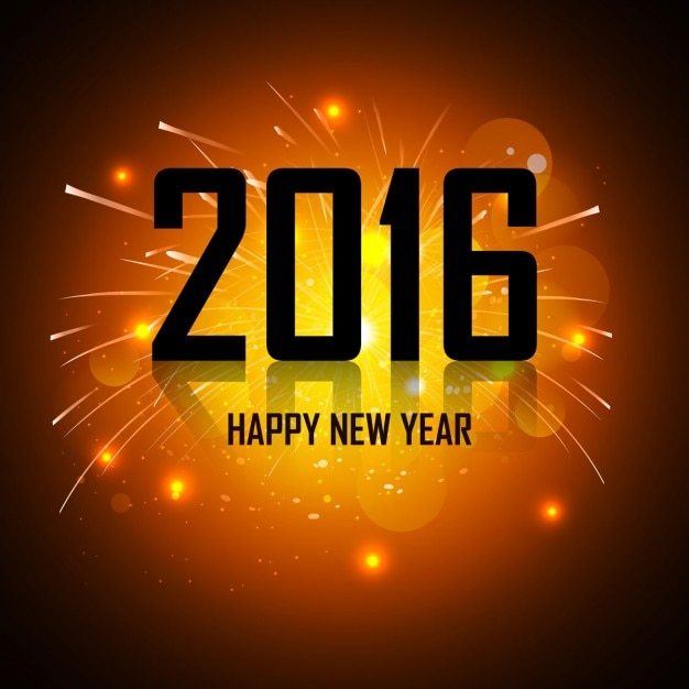 New year 2016 glowing greeting
