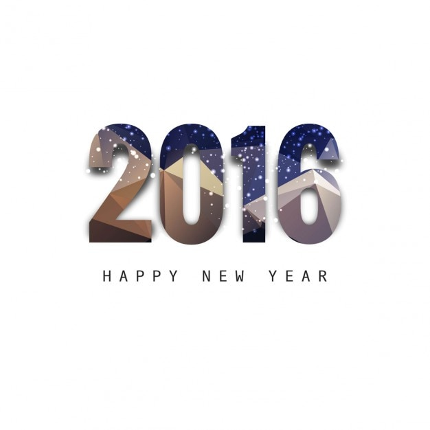 New year 2016 numbers in polygonal style