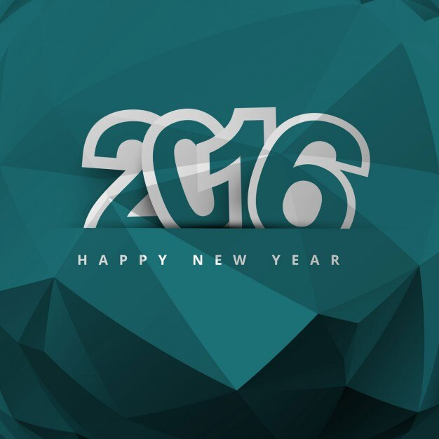 New year 2016 polygonal background