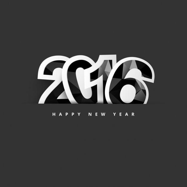 New year 2016 polygonal text