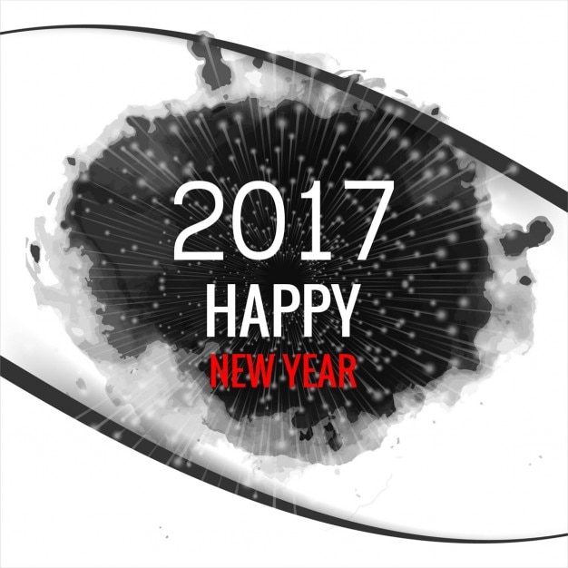 New year 2017 background with ink stain Free Vector