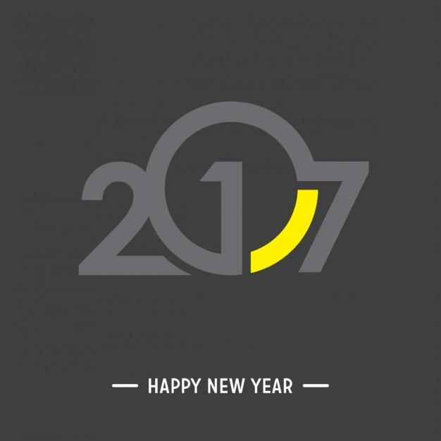 New year 2017, black background