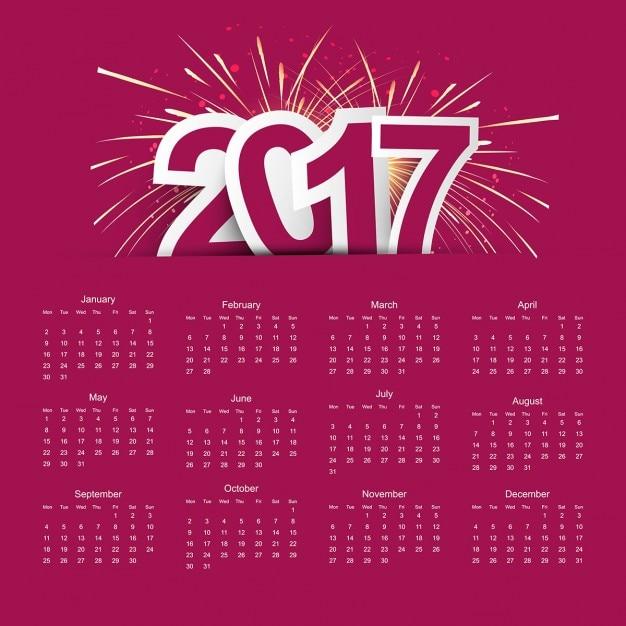 New year 2017 calendar Free Vector