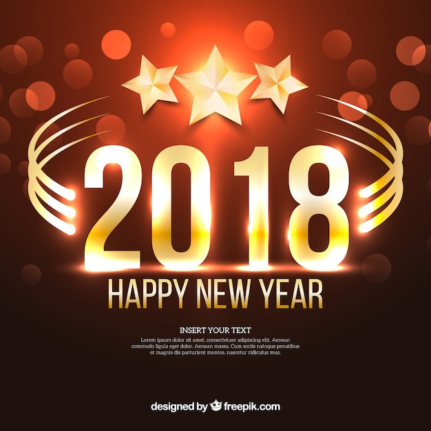 New year 2018 background with stars Free Vector
