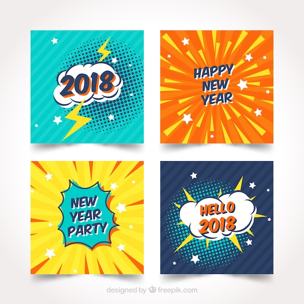 New year 2018 cards with comic design Free Vector