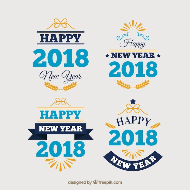 New year 2018 collection of labels