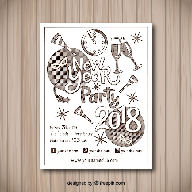 New year 2018 party flyer poster template Vector | Free Download