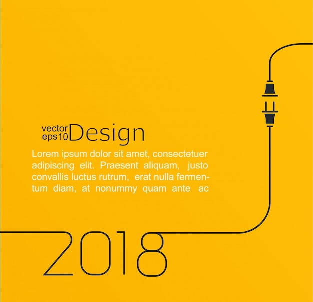 New year 2018 plug and socket. Premium Vector
