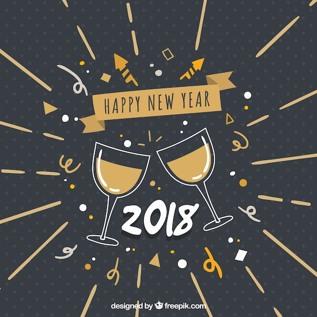 Новый год 2018 старинные фон с чашками Бесплатные векторы