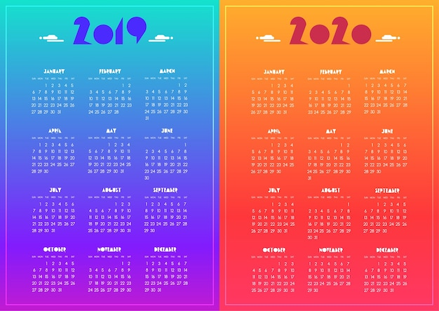 Calendario 2020 Vector Gratis.New Year 2019 And 2020 Calendar Modern Vivid Blue Purple