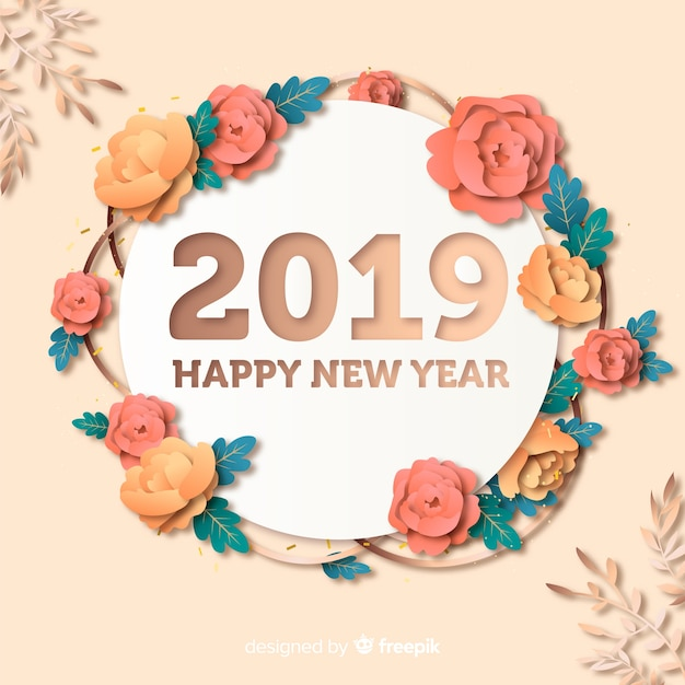 New year 2019 background in paper style Free Vector