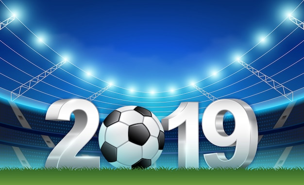 New Year 2019 Banner Template For Sport Soccer And Football
