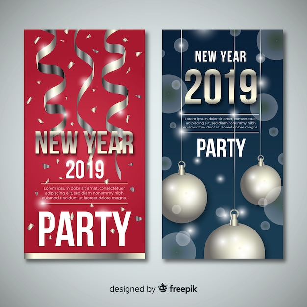 New year 2019 banner with silver elements Free Vector