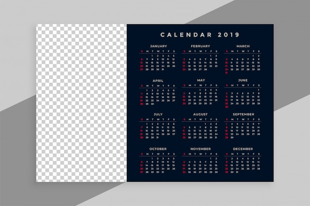New year 2019 calendar design with image space Free Vector