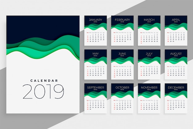 New year 2019 calendar template Free Vector