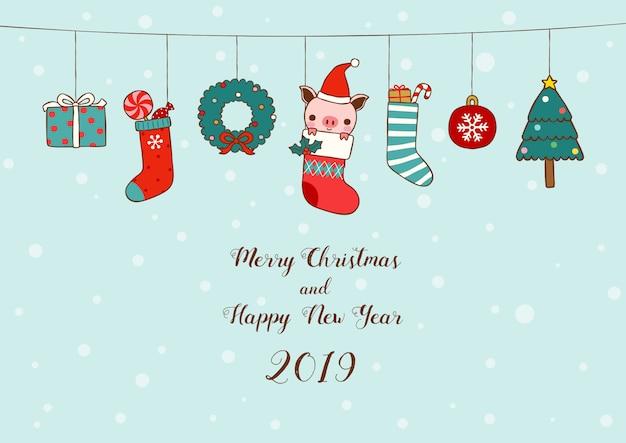 New year 2019 card christmas socks Premium Vector