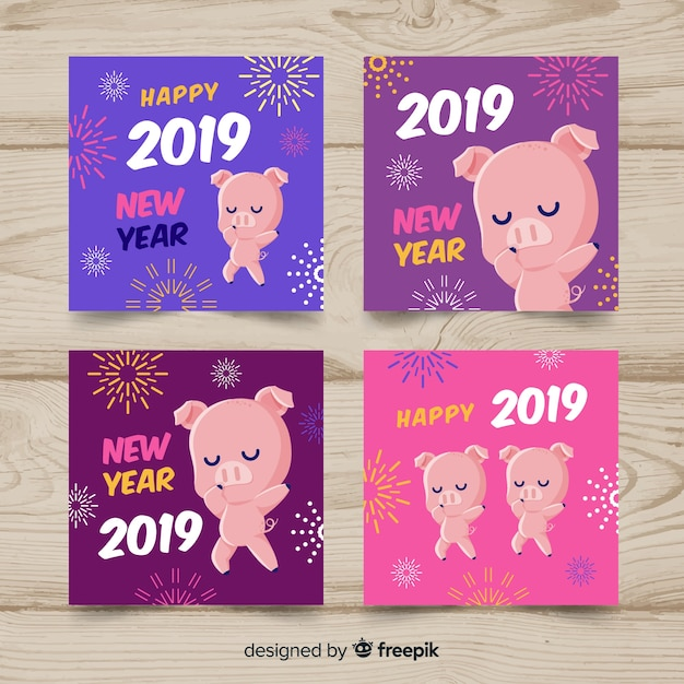 New year 2019 cards Free Vector