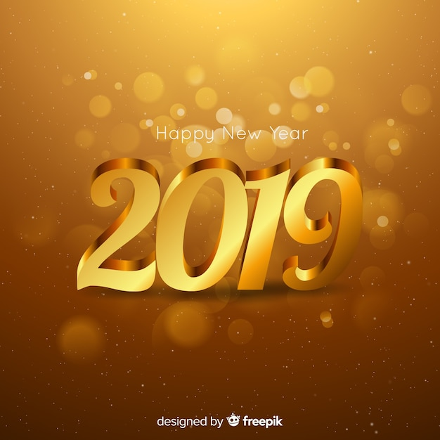 New year 2019 composition with golden style Free Vector
