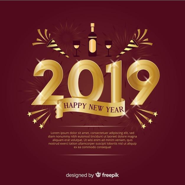 Новый год 2019 года с золотым стилем Бесплатные векторы