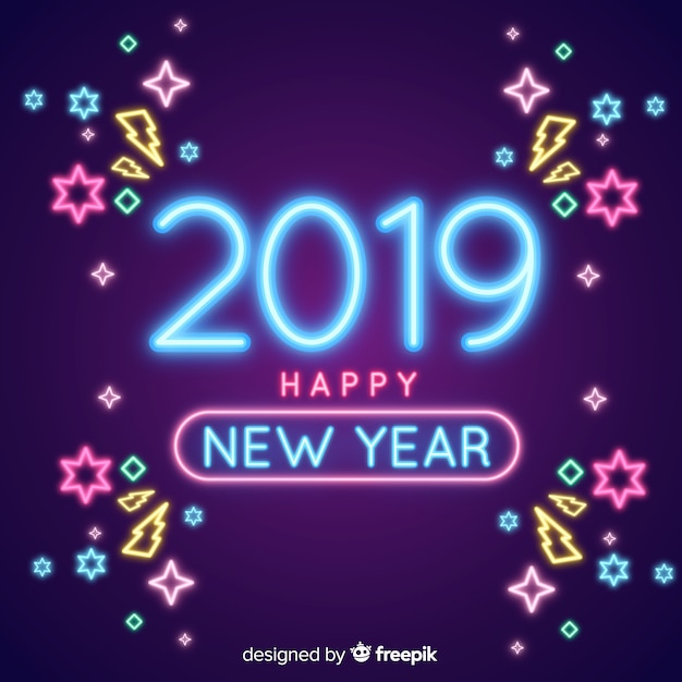 New year 2019 composition with neon lights Free Vector