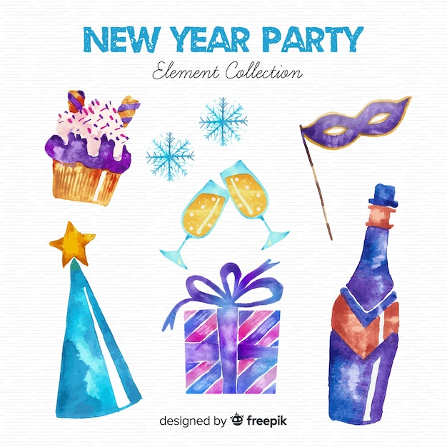 New year 2019 decoration set Free Vector