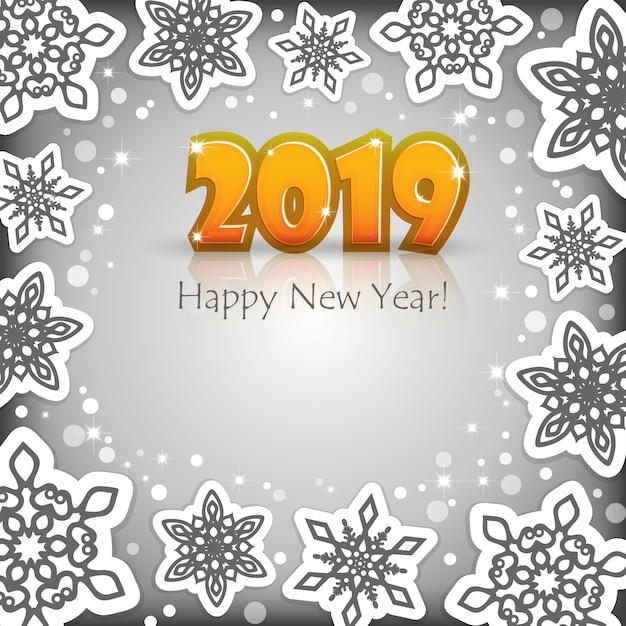 New year 2019 grey background Premium Vector