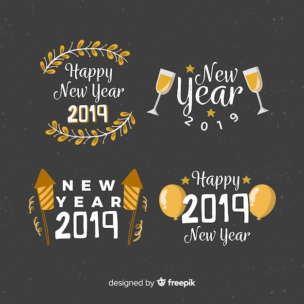 New year 2019 label collection Free Vector
