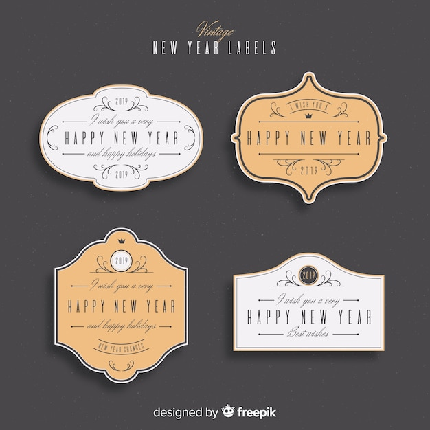 new year 2019 labels badges collection free vector