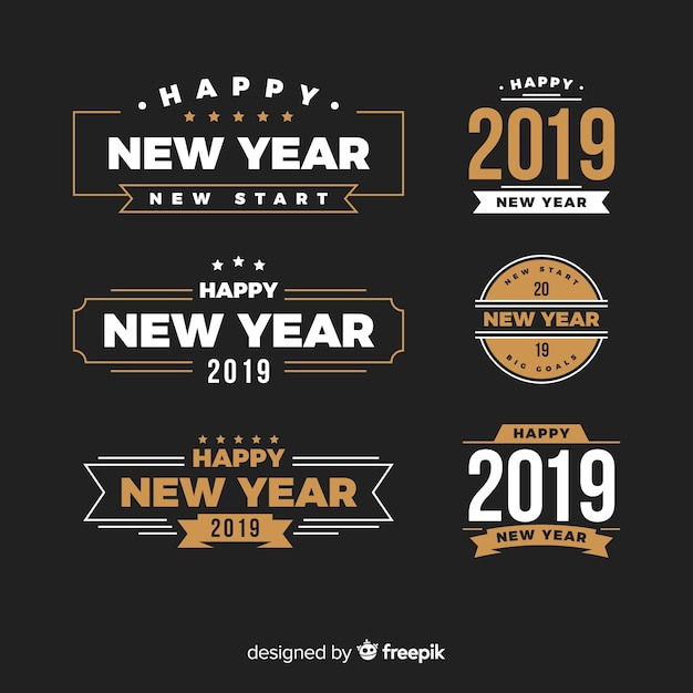 New year 2019 labels & badges collection Free Vector