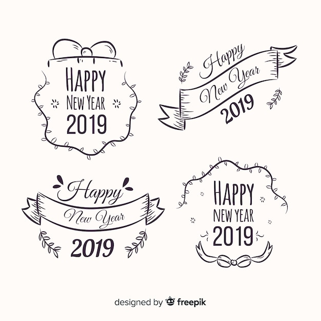 Free Vector New Year 2019 Labels Set