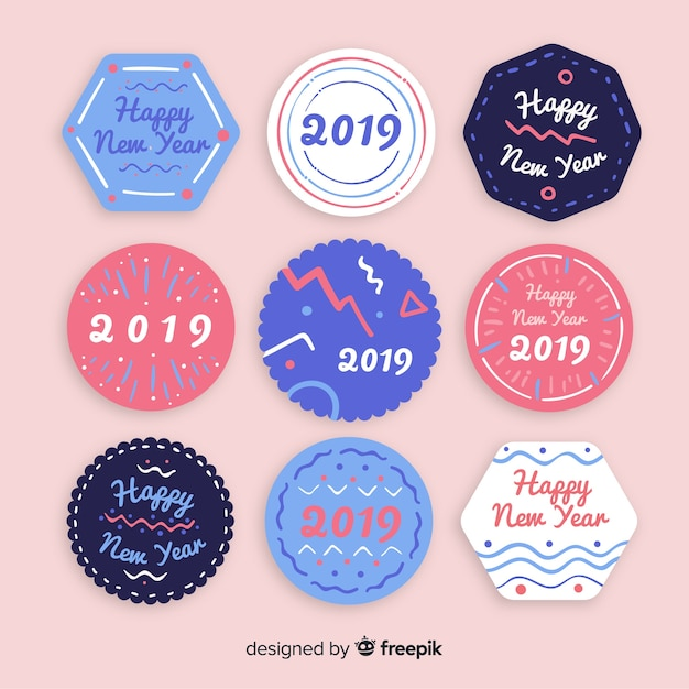 New year 2019 labels set Free Vector