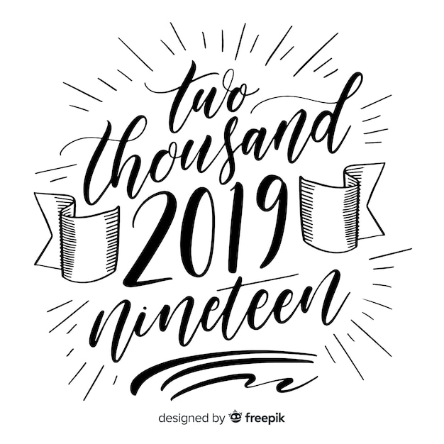 new year 2019 lettering free vector
