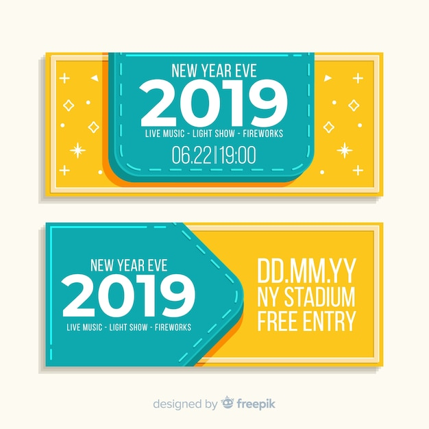 New year 2019 party banner Free Vector