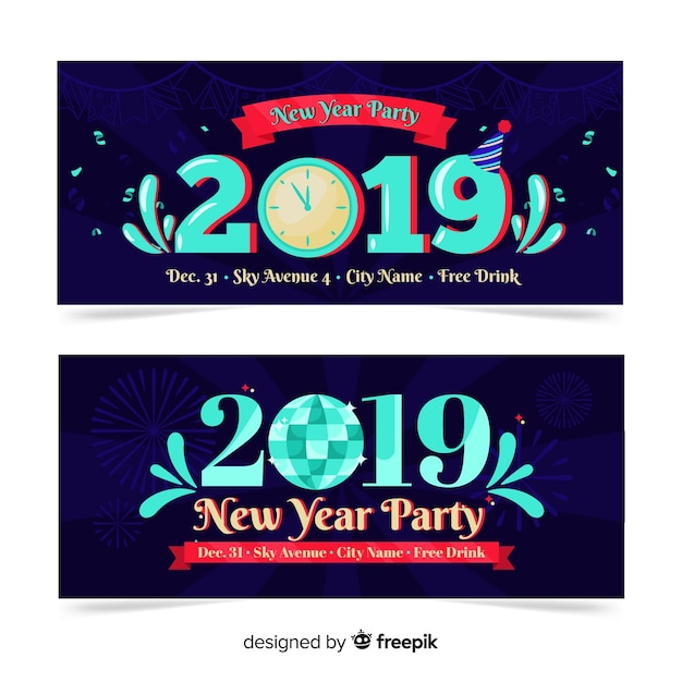 New year 2019 party banners Free Vector