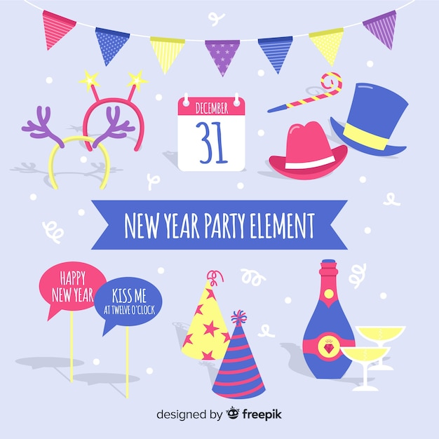 New Year 2019 Party Elements Set Vector Free Download