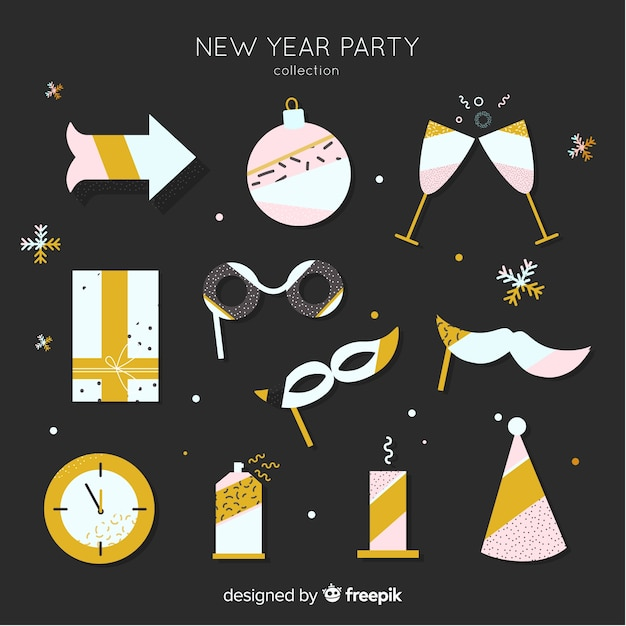 New year 2019 party elements set Free Vector
