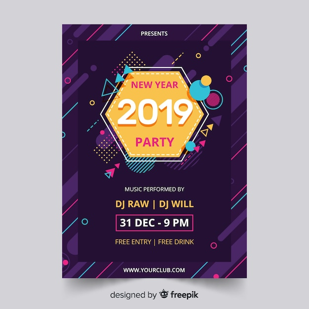 New year 2019 party flyer Free Vector