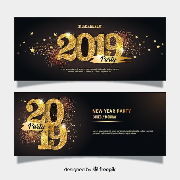 Новогодний флаер 2019 Бесплатные векторы