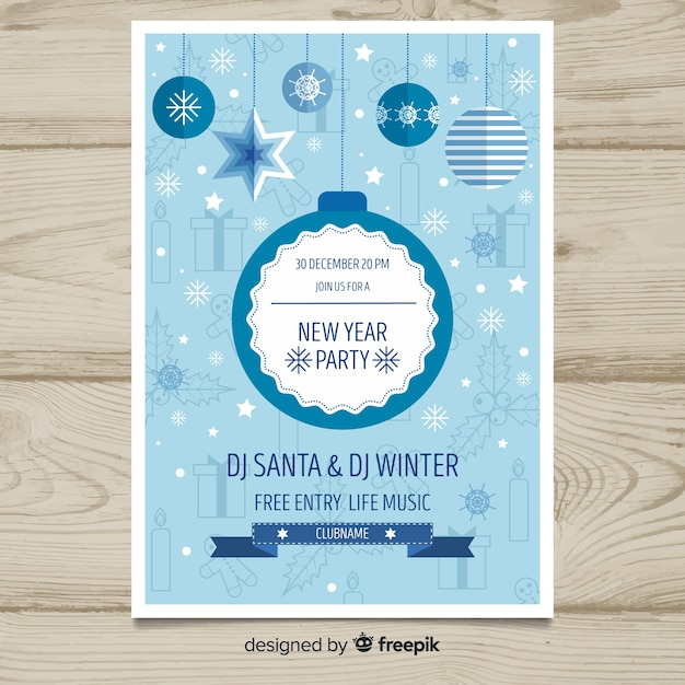 New year 2019 party poster Free Vector