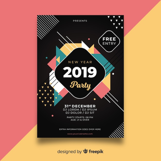 New year 2019 party Free Vector