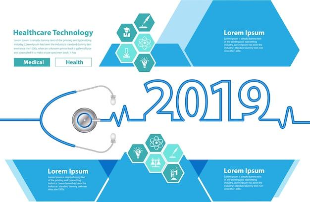 New year 2019 stethoscope heart creative ideas concept Premium Vector