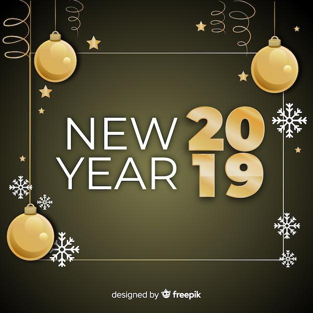 Nuovo anno 2019 con sfondo di palle d'oro Vettore gratuito