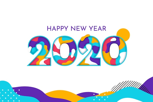 New year 2020 background flat design Free Vector