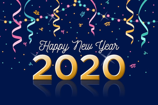 New year 2020 background in flat design Vector | Free Download