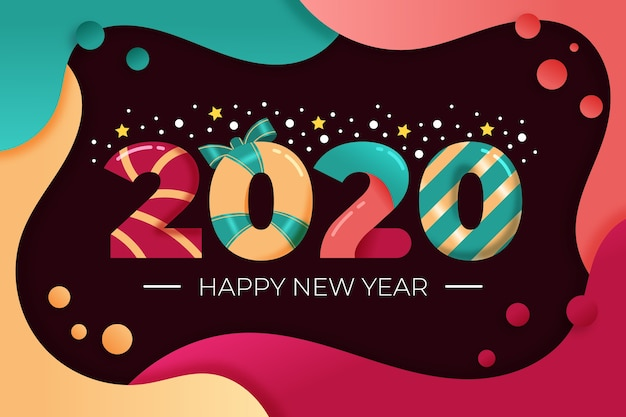 New year 2020 background in flat design Free Vector