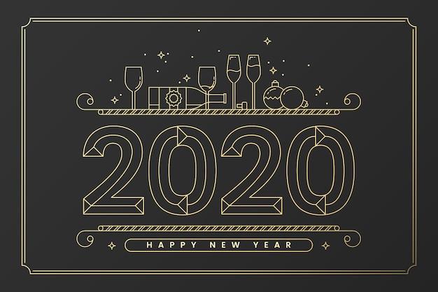 アウトラインスタイルの新年2020年背景 Premiumベクター