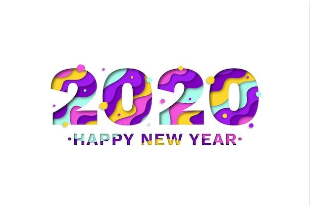 Новый год 2020 фон в бумажном стиле Premium векторы