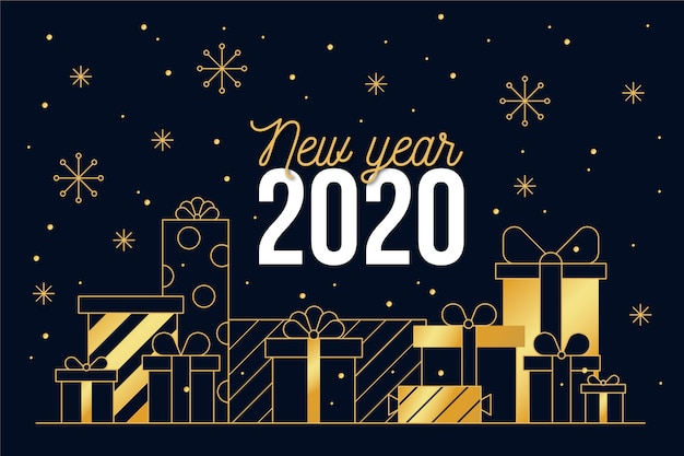New year 2020 background in outline style Free Vector
