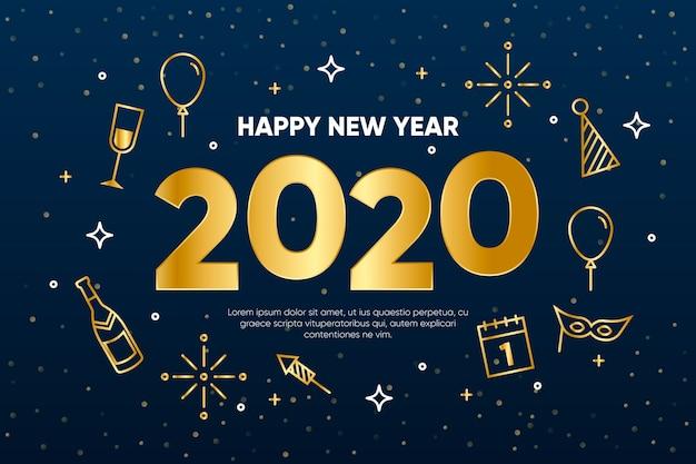 Sfondo del nuovo anno 2020 in stile contorno Vettore gratuito