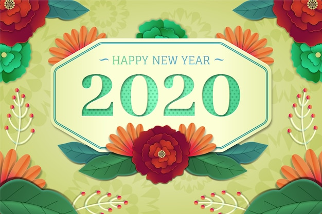 New year 2020 background in paper style Free Vector